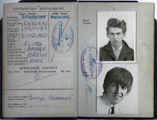 passaporte de famosos george harrison rock na veia