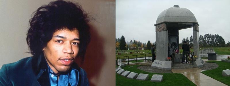 túmulos de famosos do rock túmulo de Jimi Hendrix Rock na Veia